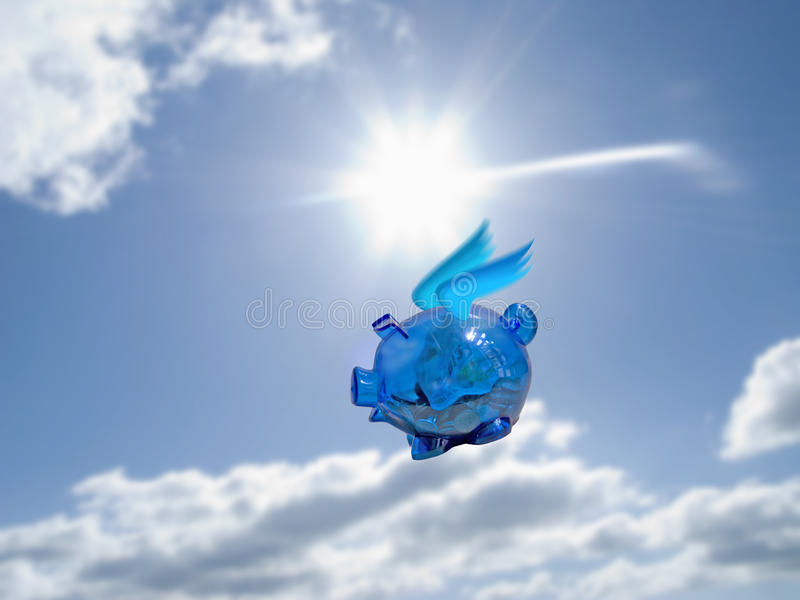 Piggy bank with wings flying in blue sky with sun and clouds royalty free stock image