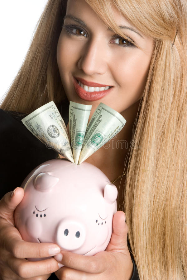 Piggy Bank Woman. Business woman holding piggy bank royalty free stock photos