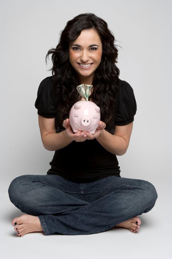 Piggy Bank Woman royalty free stock image