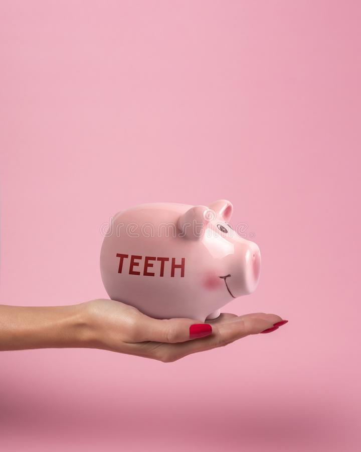 Piggy bank in a woman hand with inscription TEETH on a pink background. Minimal saving money concept royalty free stock images
