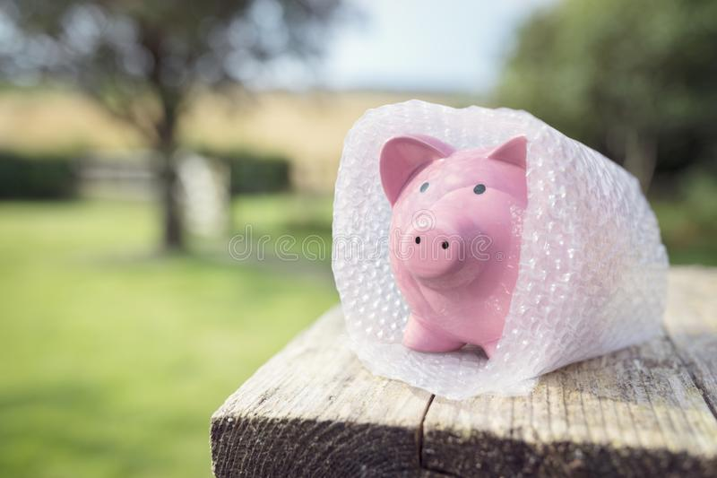 Piggy bank wrapped in bubble wrap, protecting your money royalty free stock photo