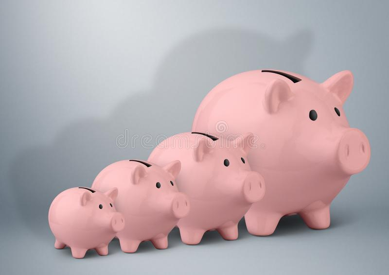 Piggy banks of different sizes, savings growth concept stock image