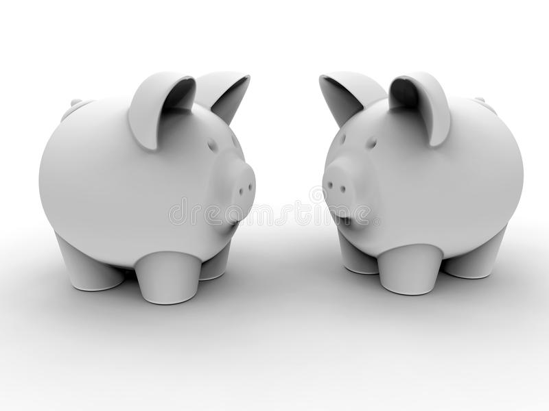 Piggy banks face to face concept royalty free illustration