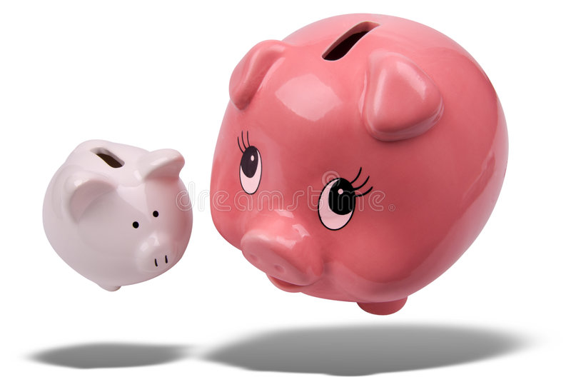 Piggy banks floating stock images