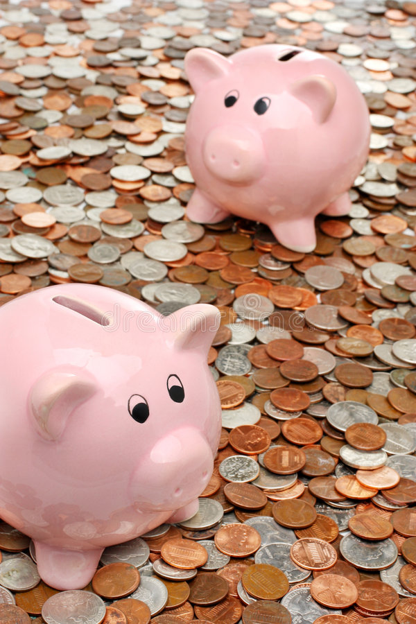 Download Piggy Banks Over Money Business & Finance Concept Stock Photography - Image: 7449992