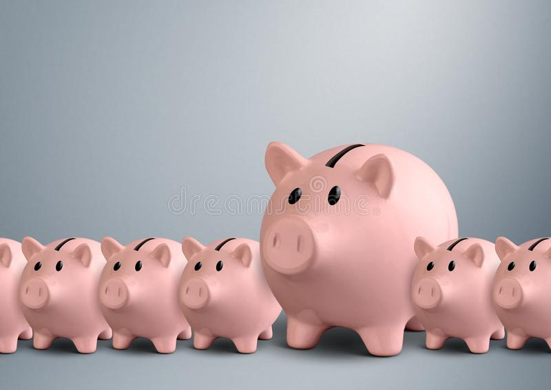 Piggy banks in a row, best bank concept stock illustration