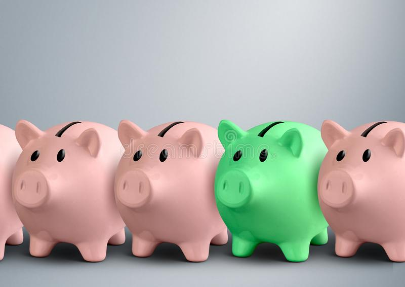 Piggy banks in a row, finance success concept stock image