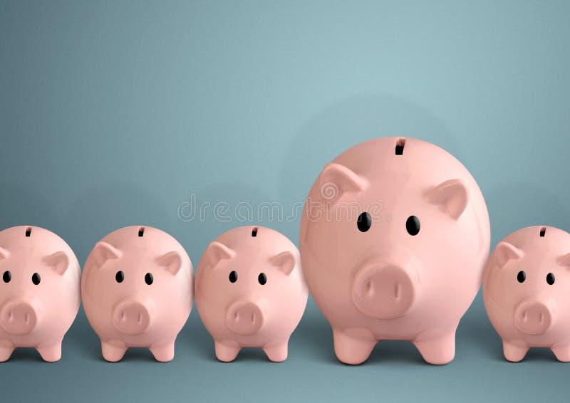 Piggy banks in a row, successful bank concept stock photos