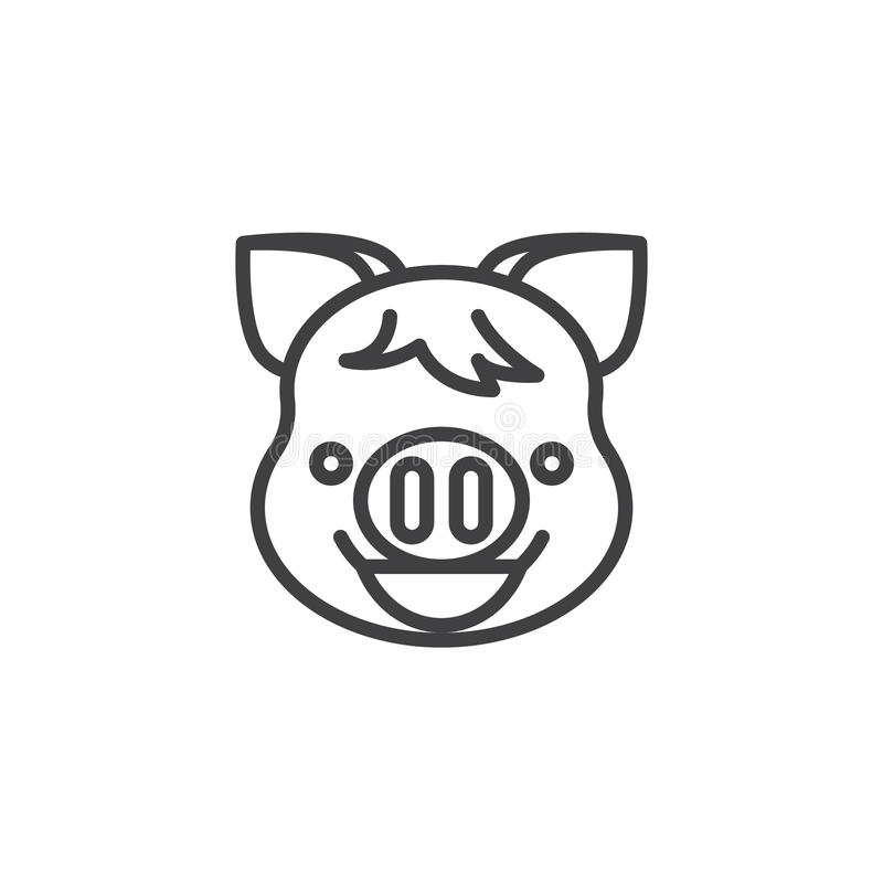 Piggy Beaming Face With Smiling Eyes emoji line icon. Linear style sign for mobile concept and web design. Happy piggy face emoticon outline vector icon. New royalty free illustration