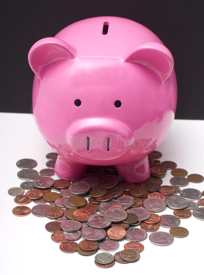 Download Piggy and Change stock image. Image of closeup, cutout - 17281513