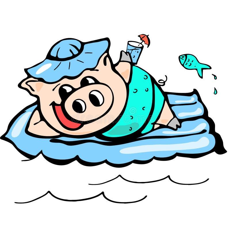 Piggy Chinees nieuw jaar, beeldverhaal, viering, ontwerp, pret, geluk stock illustratie