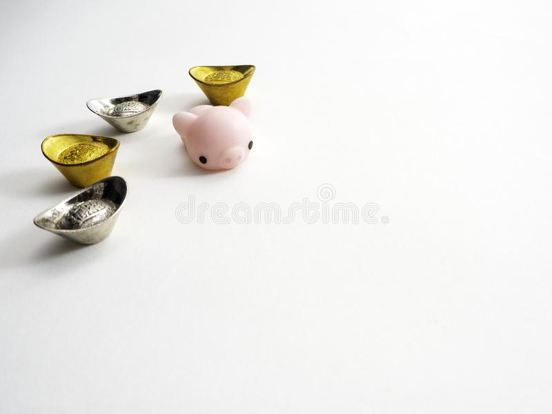 Piggy Chinese new year 2019 background royalty free stock photo