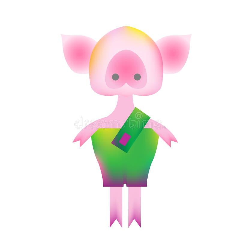 Piggy in der modernen Art der vibrierenden Steigung vektor abbildung