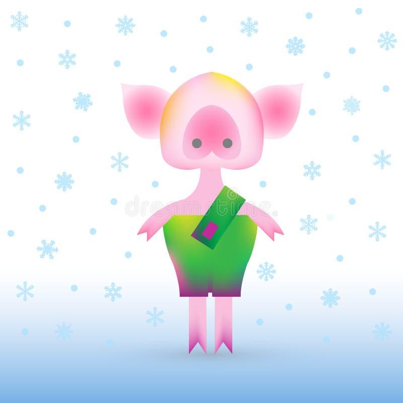 Piggy in der modernen Art der vibrierenden Steigung lizenzfreie abbildung