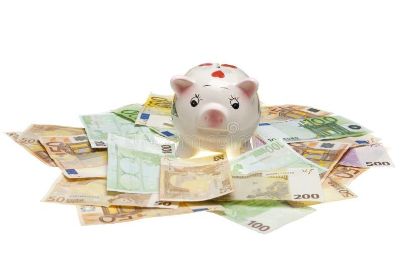 Piggy Euroquerneigung lizenzfreie stockbilder