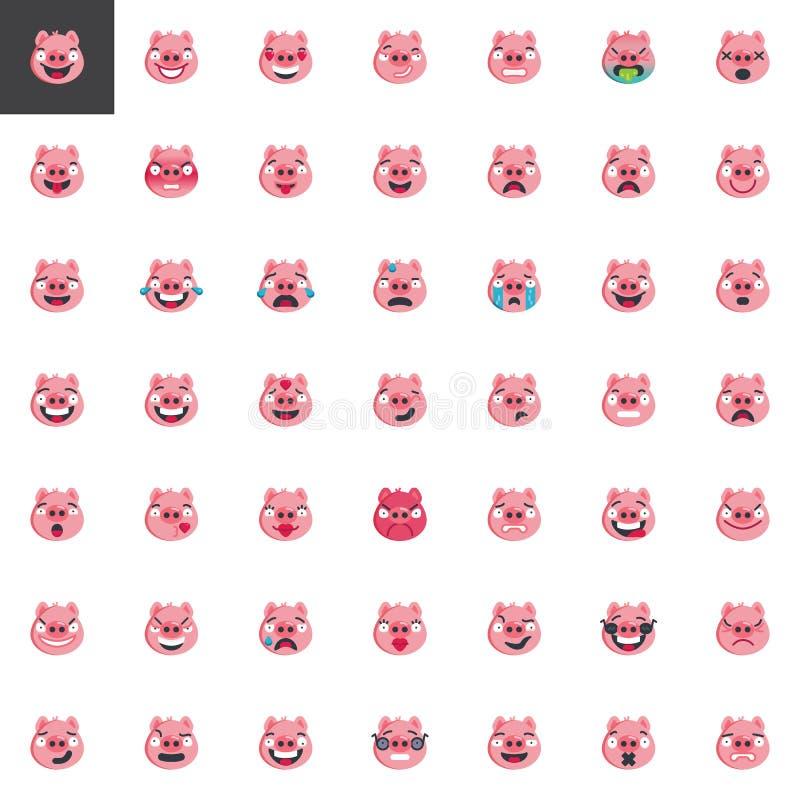 Piggy face emoticon elements collection vector illustration