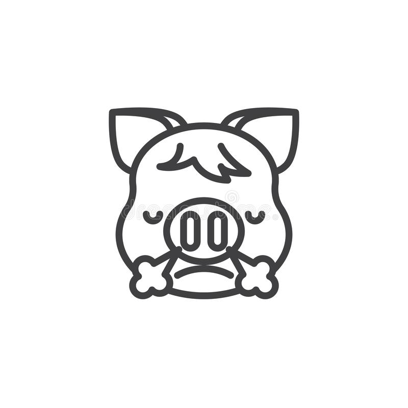 Piggy Face With Steam From Nose Emoji line icon. Linear style sign for mobile concept and web design. Angry piggy face emoticon outline vector icon. New year vector illustration