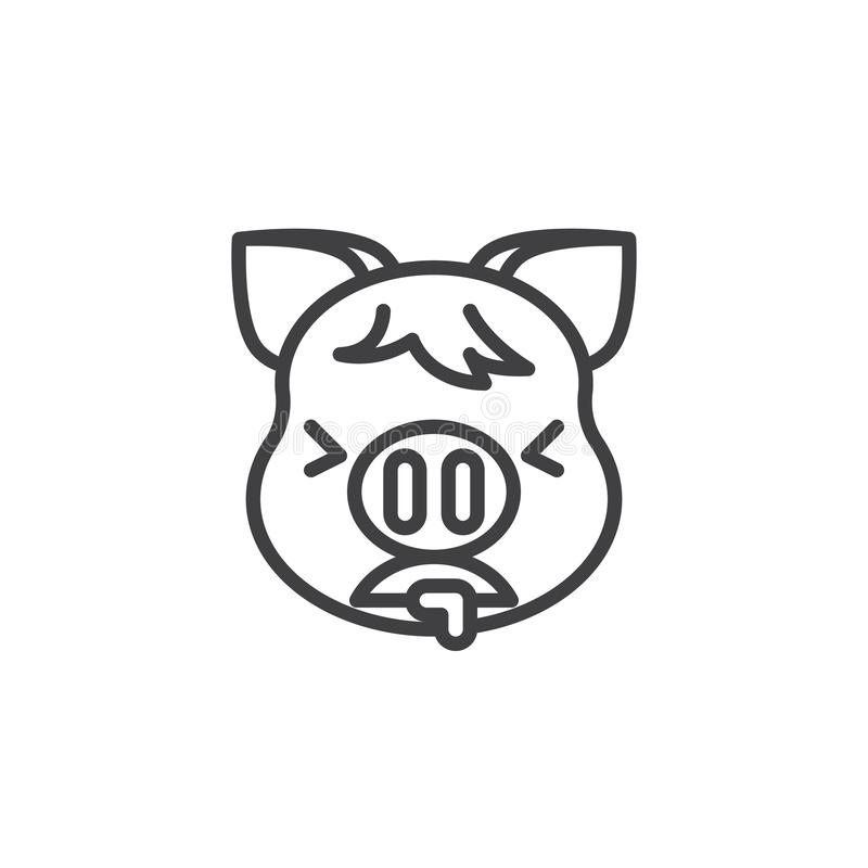 Piggy Face Vomiting Emoji line icon. Linear style sign for mobile concept and web design. Nauseous piggy face emoticon outline vector icon. New year Pig head vector illustration