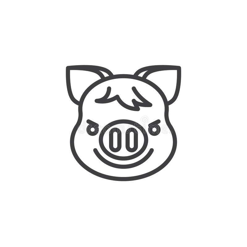 Piggy Face With Wry Smile emoji line icon. Linear style sign for mobile concept and web design. Piggy smirking face emoticon outline vector icon. New year Pig vector illustration