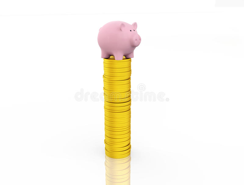 Piggy with Gold Coin. Piggy Bank with Gold Coins Isolated on White stock photos