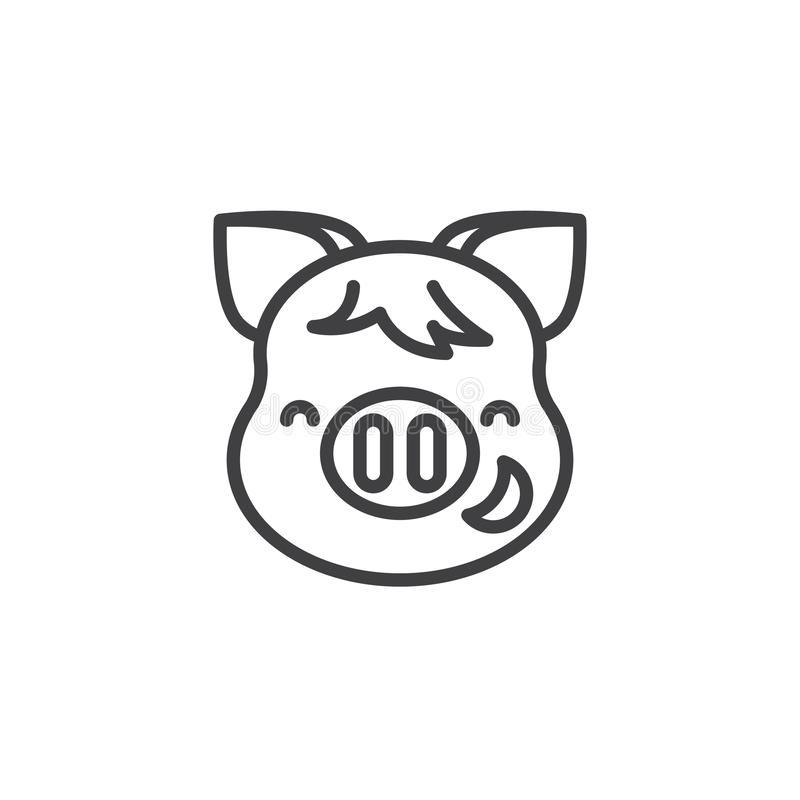 Piggy Grinning face with smiling face emoji line icon. Linear style sign for mobile concept and web design. Happy piggy face emoticon outline vector icon. New royalty free illustration