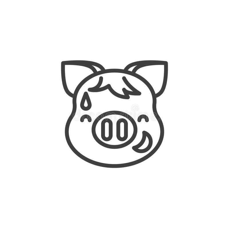 Piggy Grinning Face With Sweat Emoji line icon. Linear style sign for mobile concept and web design. Laughing piggy face emoticon outline vector icon. New year royalty free illustration