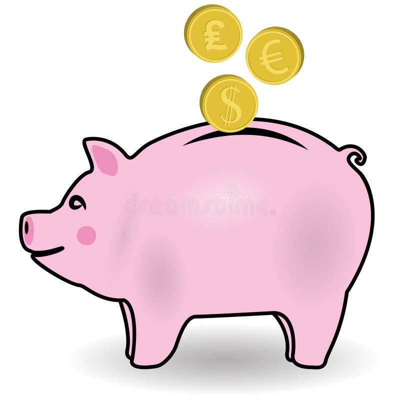 Piggy grupp royaltyfri illustrationer