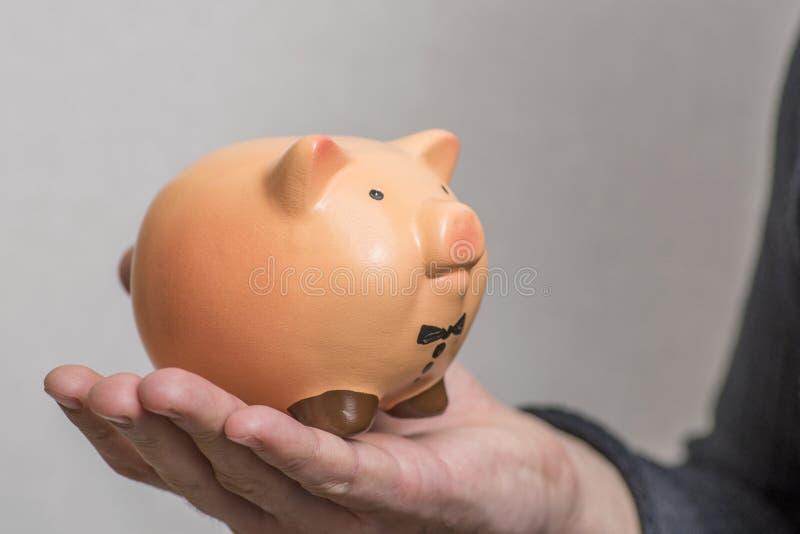 piggy gruppholdingman Hand av maninnehavspargrisen Begreppet sparar pengar arkivfoton