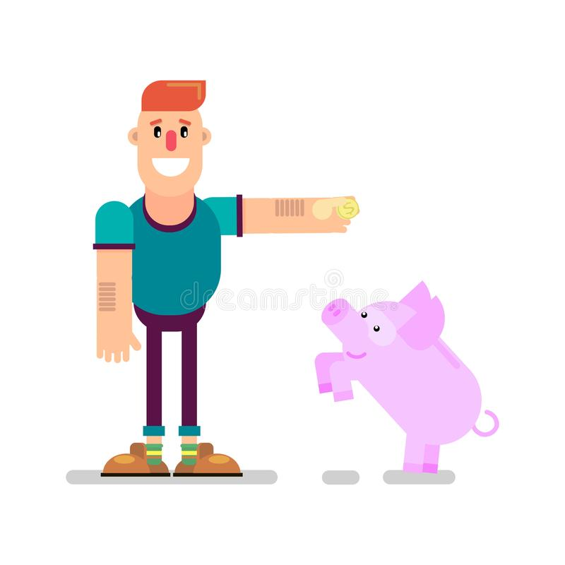 piggy gruppman vektor illustrationer