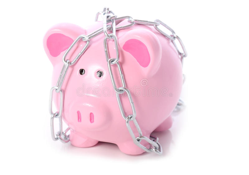 Download Piggy in kettingen stock foto. Afbeelding bestaande uit roze - 29504610