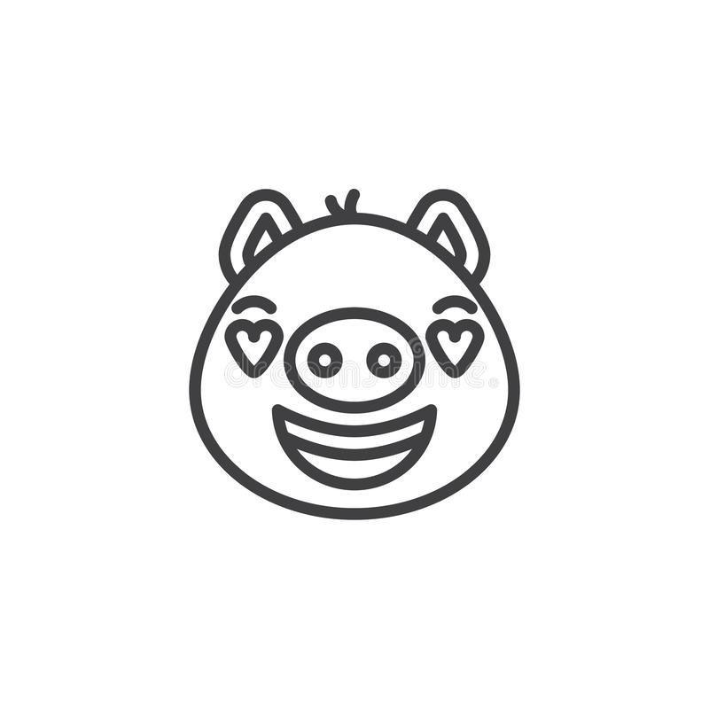 Piggy in love emoji line icon. Linear style sign for mobile concept and web design. Smiling piggy face with heart eyes emoticon outline vector icon. Pig year royalty free illustration