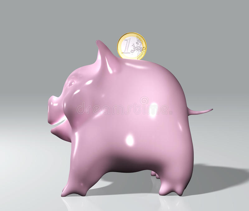 Piggy med en euro royaltyfri illustrationer