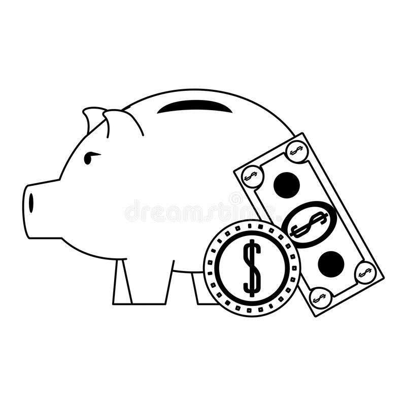 Piggy money savings and investment symbols. Money piggy with coin and billet symbols in black and white vector illustration stock illustration