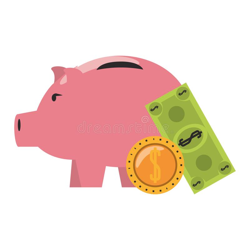 Piggy money savings and investment symbols. Money piggy with coin and billet symbols vector illustration stock illustration