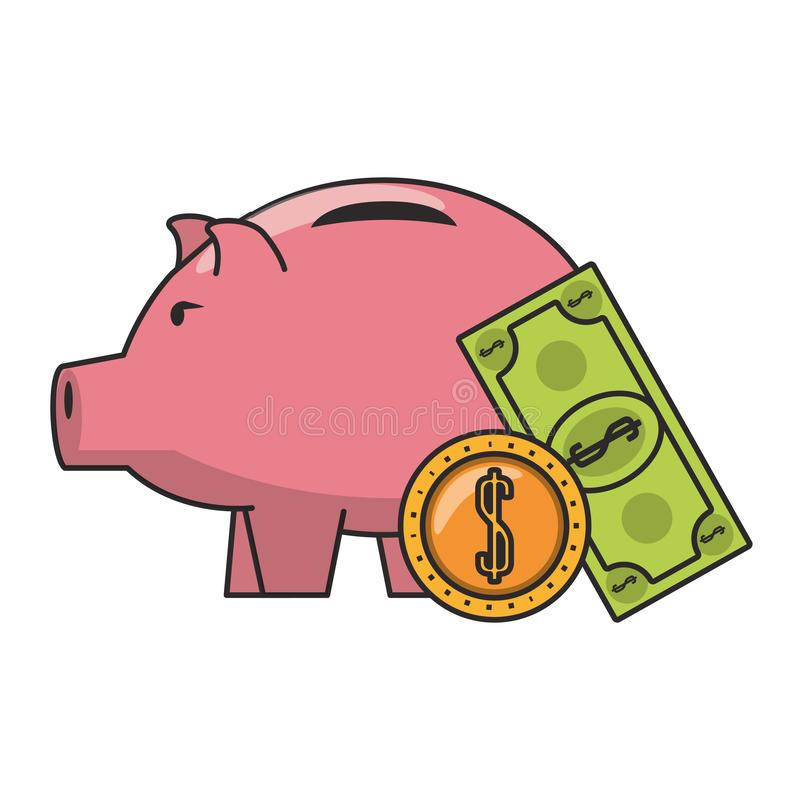 Piggy money savings and investment symbols. Money piggy with coin and billet symbols vector illustration royalty free illustration