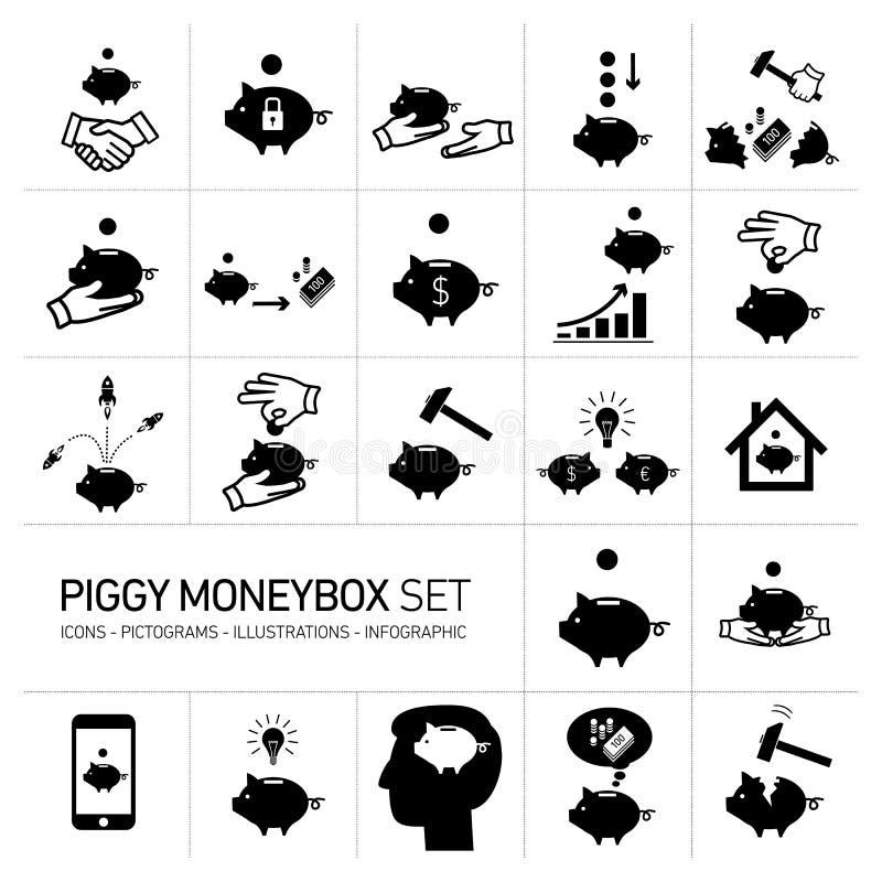 Piggy moneybox för vektor och moneybanksymbolsuppsättning stock illustrationer