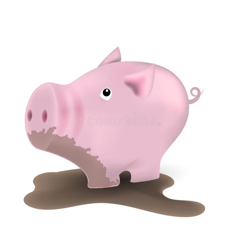 Piggy in the mud, standing in a dirty puddle. stock illustration