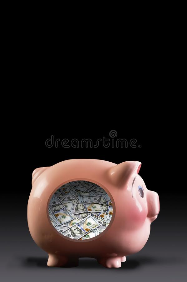 Piggy mycket av kassa stock illustrationer