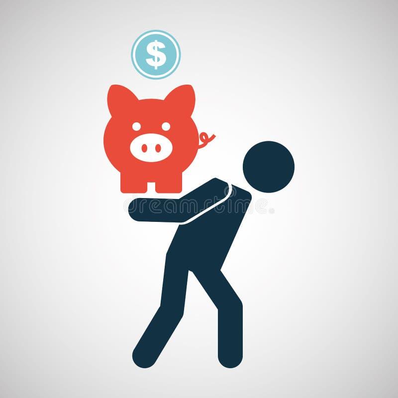 Piggy mynt för konturmanfinanskris royaltyfri illustrationer