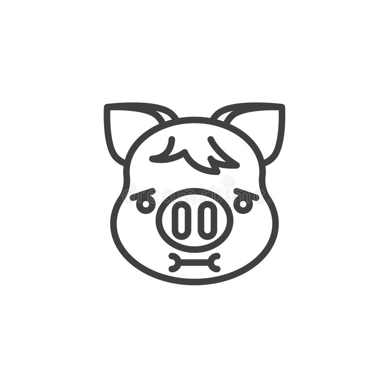Piggy Nauseated Face Emoji line icon. Linear style sign for mobile concept and web design. Nauseated piggy face emoticon outline vector icon. New year Pig head royalty free illustration