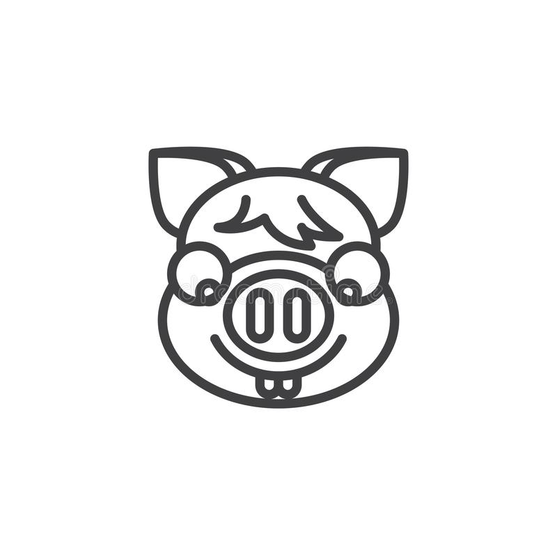 Piggy nerd face emoji line icon. Linear style sign for mobile concept and web design. Piggy face with glasses emoticon outline vector icon. New year Pig head stock illustration