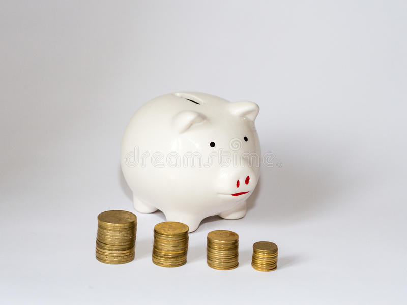 Piggy packa ihop royaltyfri fotografi