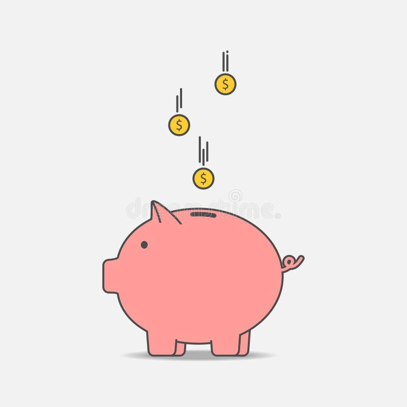 Piggy packa ihop med myntar E bondsräknemaskinen kan ändra pengar för inskrifter för kuvert för underhållning för ekonomi för beg royaltyfri illustrationer
