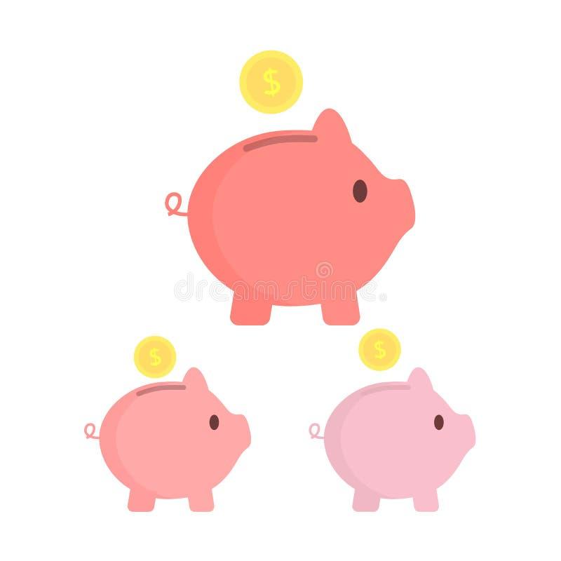 Piggy packa ihop med myntar Olika toner Sparande pengar eller öppnar ett begrepp för bankinsättning också vektor för coreldrawill stock illustrationer