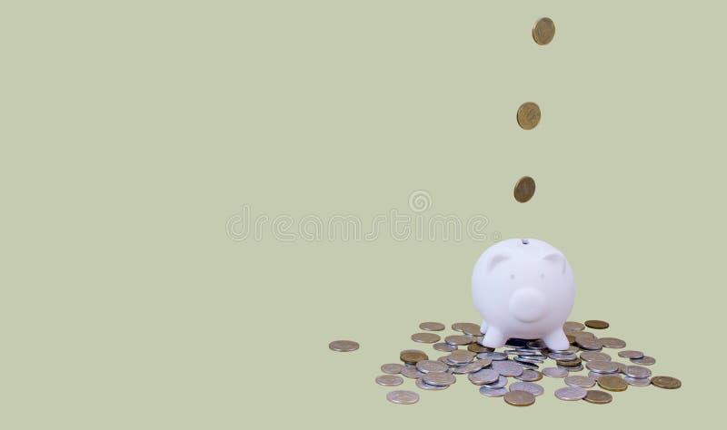 Piggy packa ihop med pengar och myntar royaltyfri fotografi