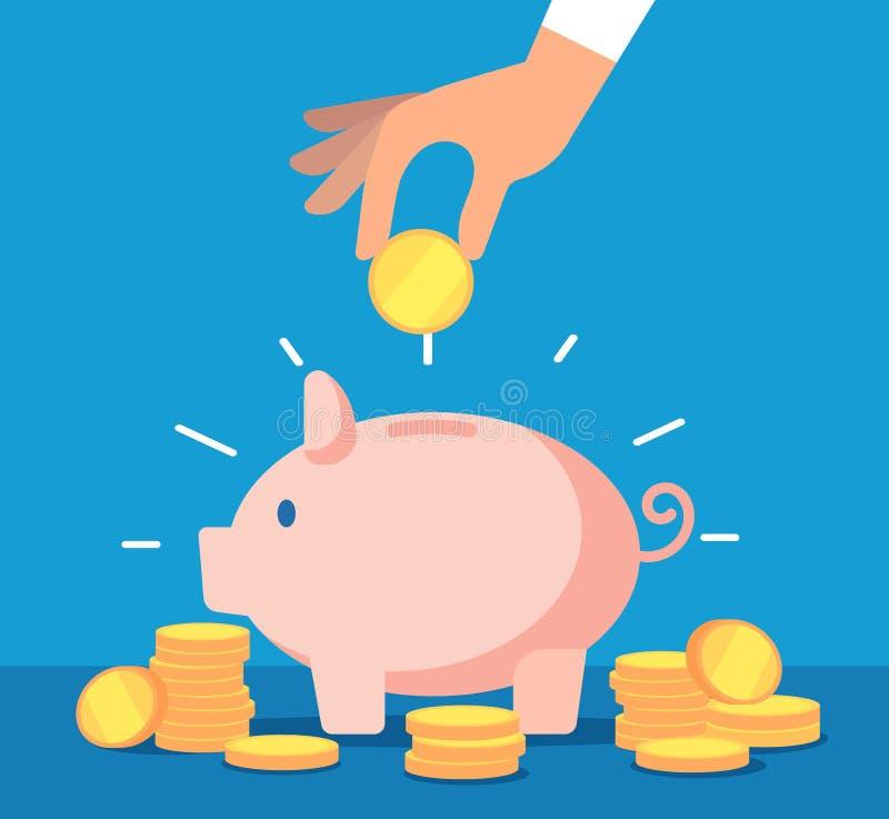 Piggy packa ihop Sparbössa med fallande guld- mynt Affärsidé för insättningbankrörelsekonto och kassavektor stock illustrationer