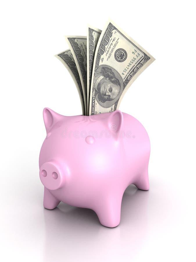 Piggy pengarbank med hundra dollarräkningar arkivbild