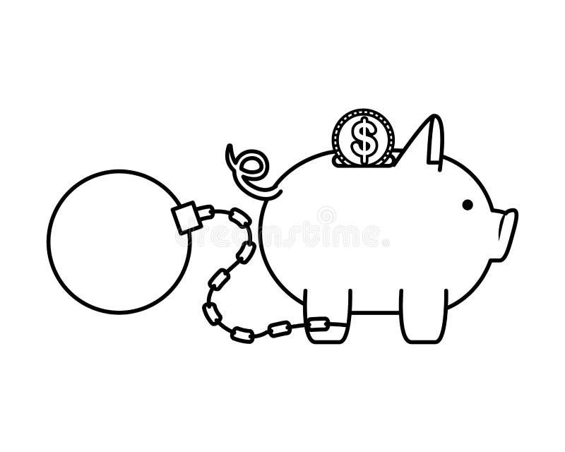 Piggy pengarbesparingar med myntet och den slav- bollen royaltyfri illustrationer