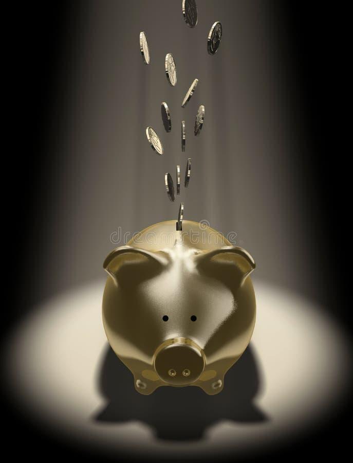 Piggy-Querneigung lizenzfreie abbildung