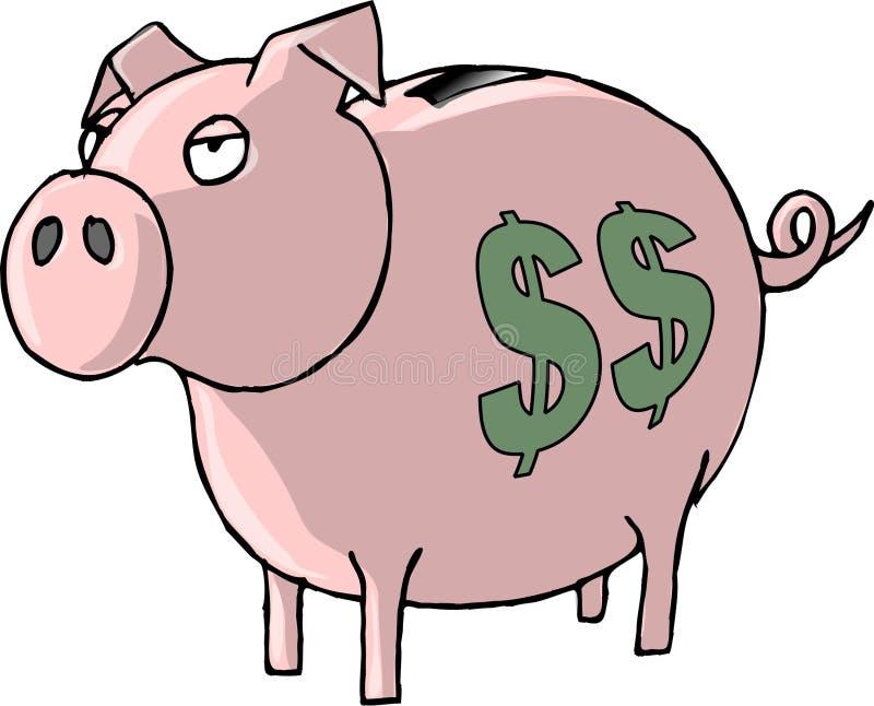 Piggy Querneigung lizenzfreie abbildung